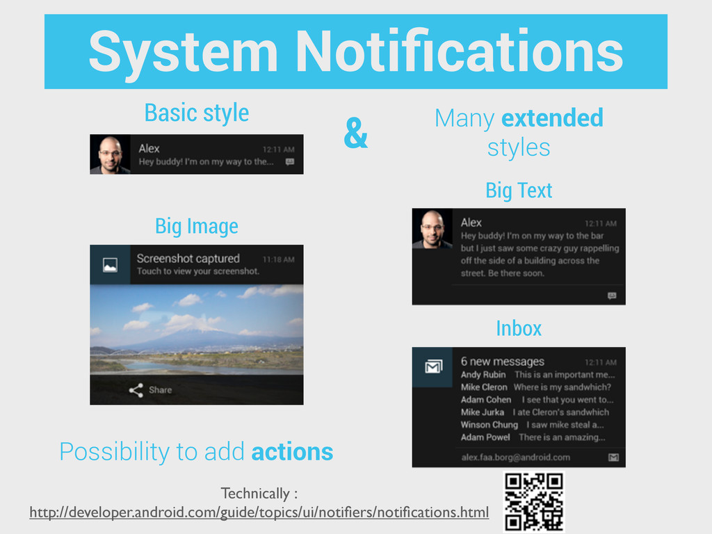Basic style Many extended styles Big Text Inbox...