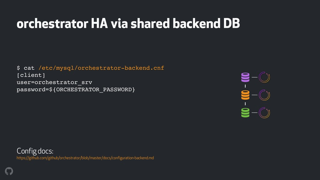 orchestrator HA via shared backend DB ! ! ! $ c...