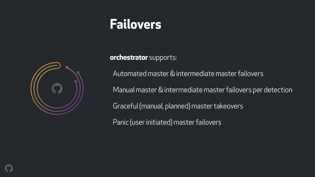 orchestrator supports: Automated master & inter...