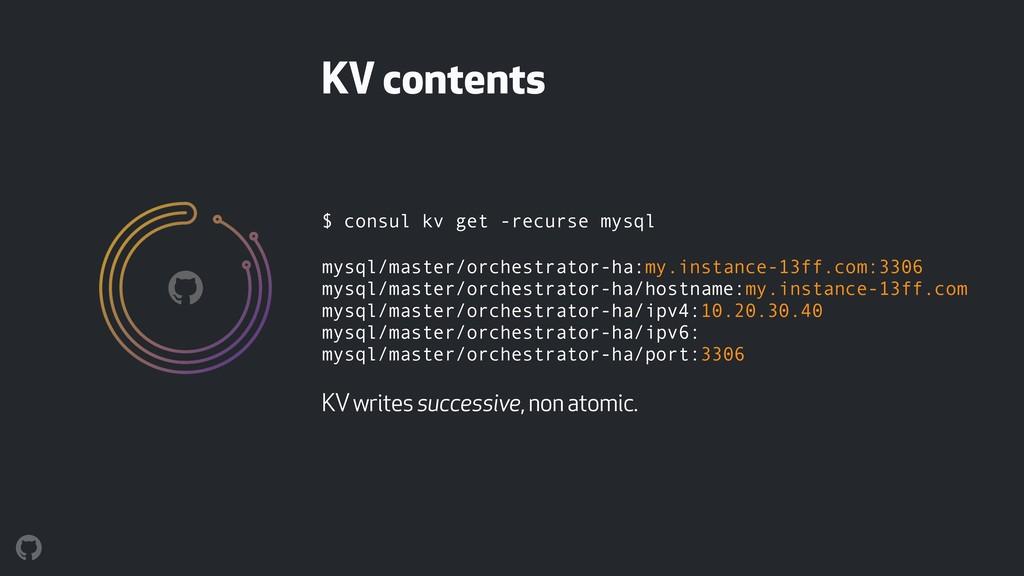$ consul kv get -recurse mysql mysql/master/orc...