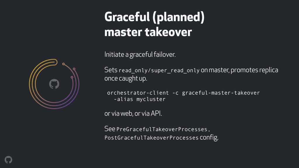 Initiate a graceful failover. Sets read_only/su...