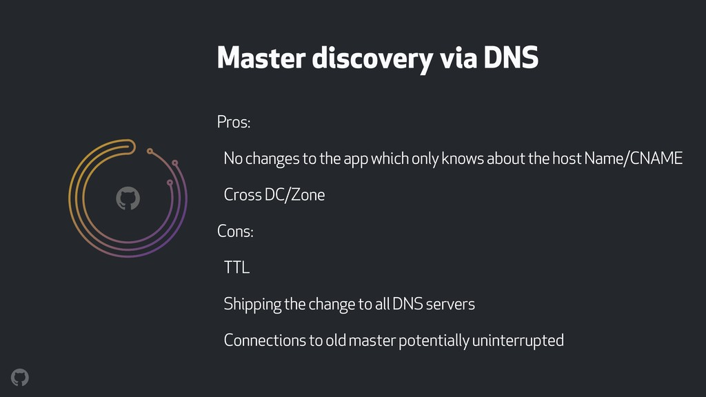 Master discovery via DNS Pros: No changes to th...