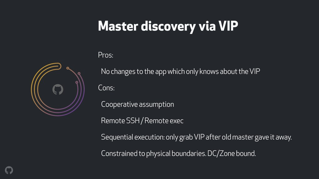 Master discovery via VIP Pros: No changes to th...