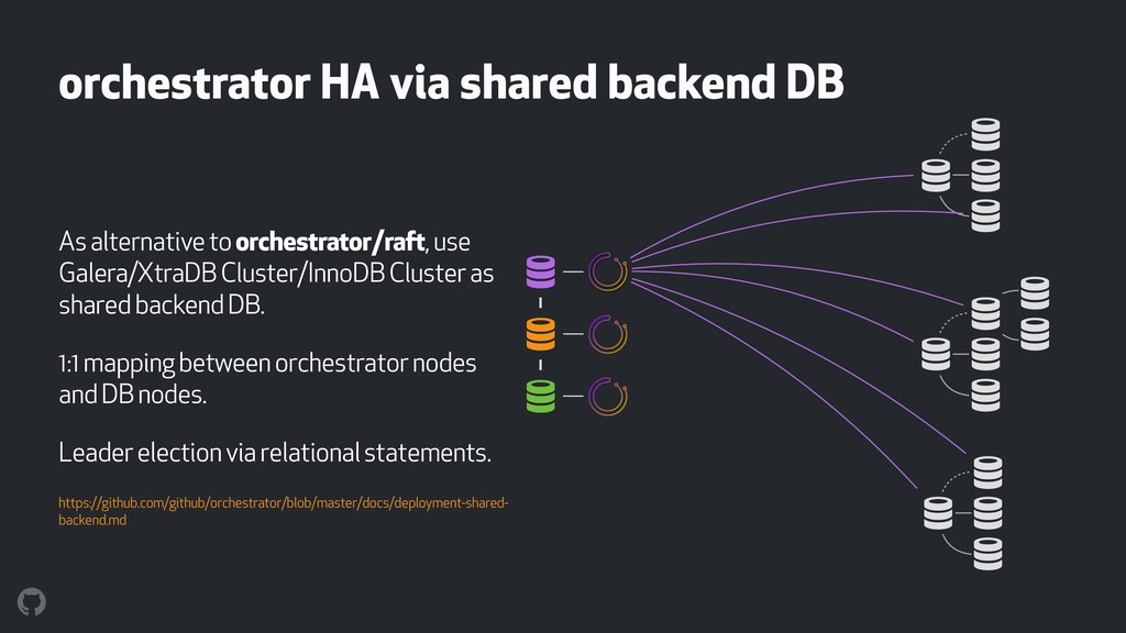 orchestrator HA via shared backend DB As altern...