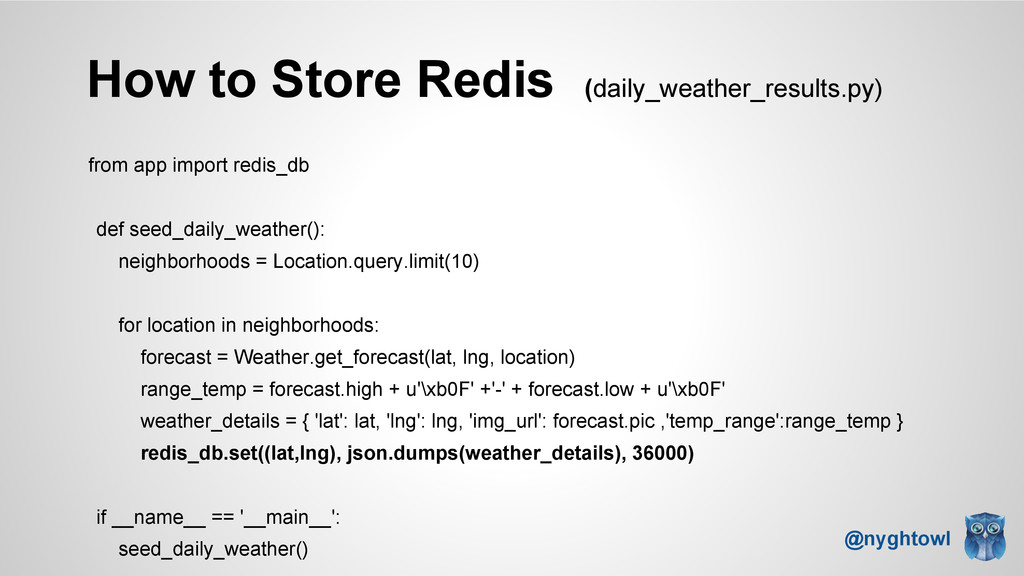 How to Store Redis (daily_weather_results.py) f...