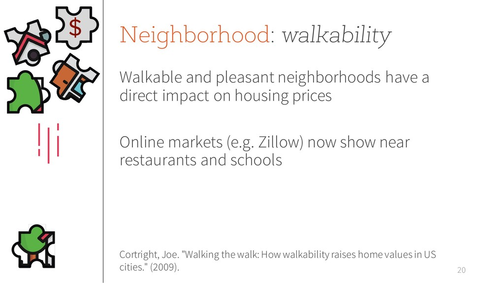 Neighborhood: walkability Walkable and pleasant...