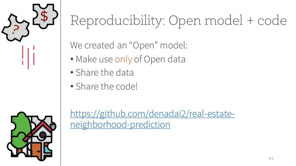 44 Reproducibility: Open model + code We create...