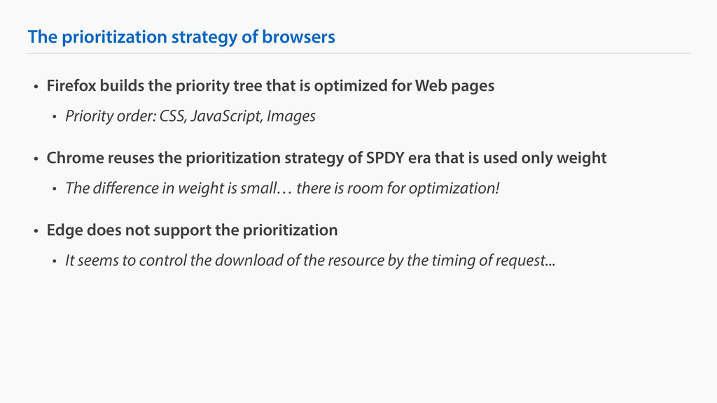 The prioritization strategy of browsers • Firef...