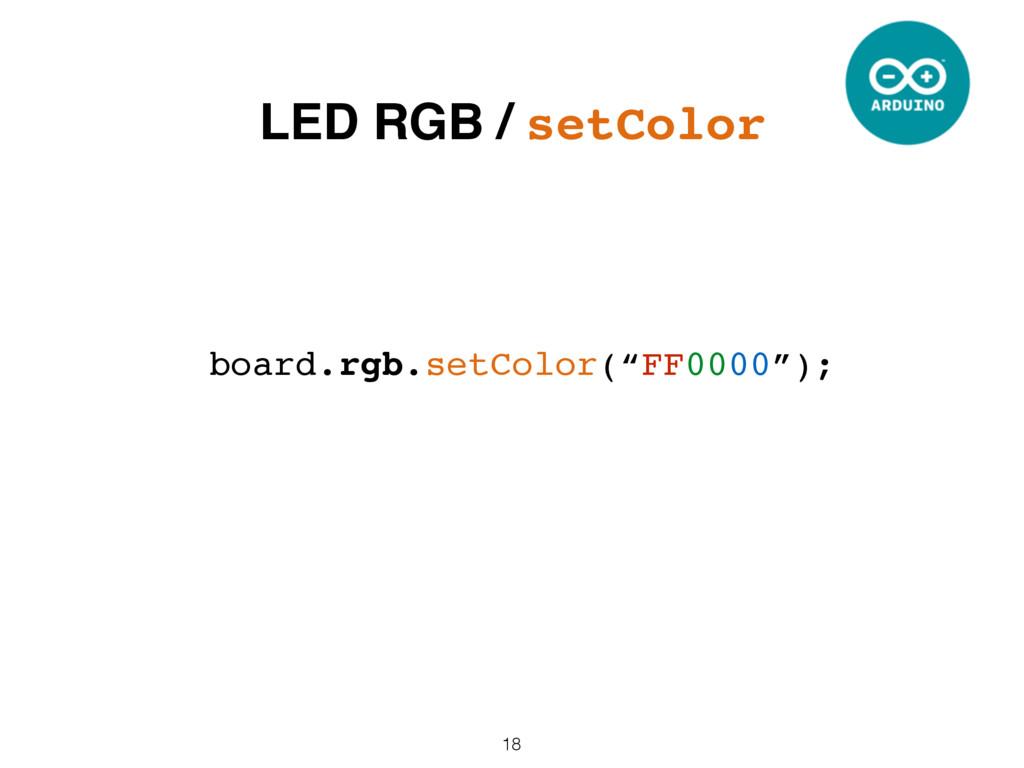 "18 board.rgb.setColor(""FF0000""); LED RGB / setC..."