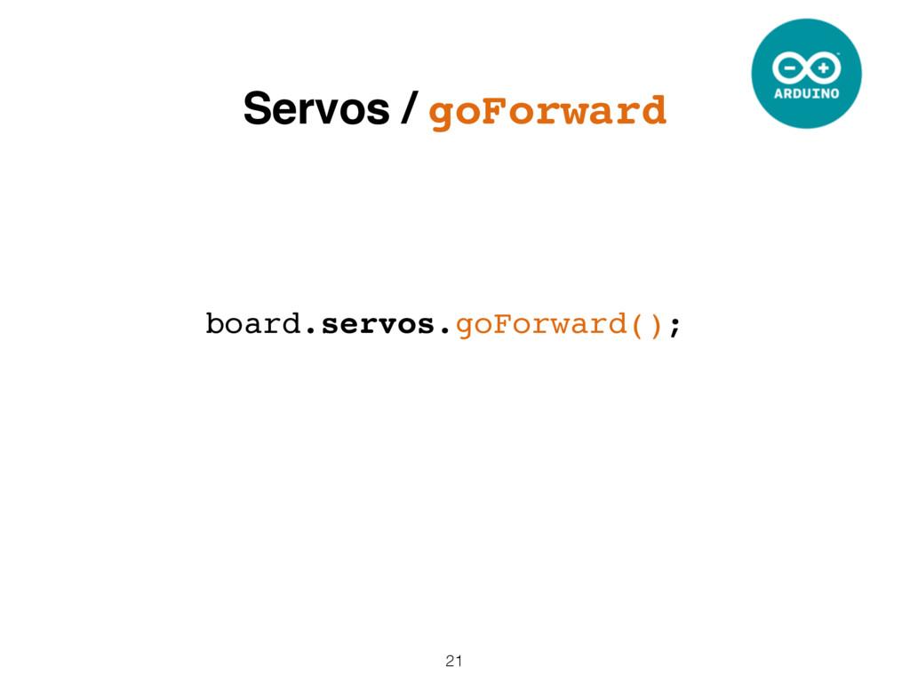 21 board.servos.goForward(); Servos / goForward