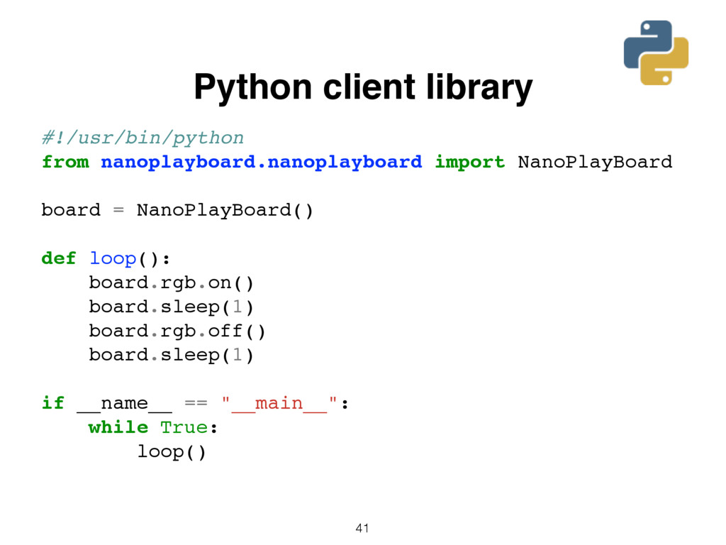 41 Python client library #!/usr/bin/python from...