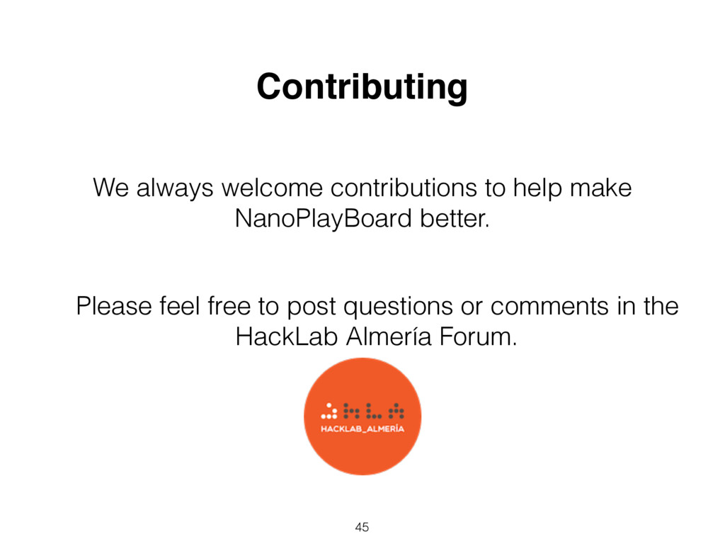 45 Contributing We always welcome contributions...