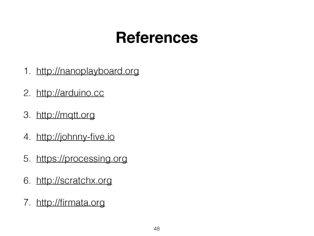 48 References 1. http://nanoplayboard.org 2. ht...