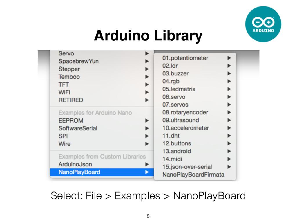 8 Arduino Library Select: File > Examples > Nan...