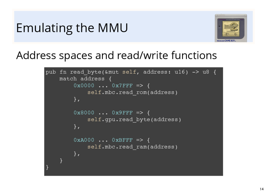 Emulating the MMU Address spaces and read/write...