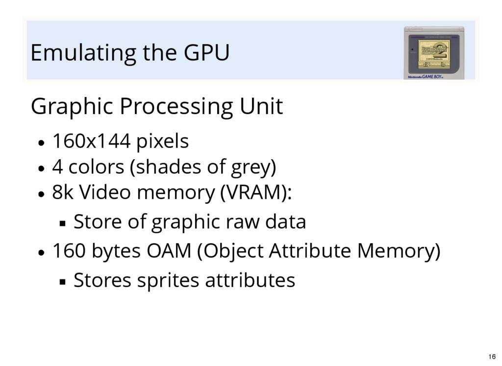 Emulating the GPU Graphic Processing Unit 160x1...