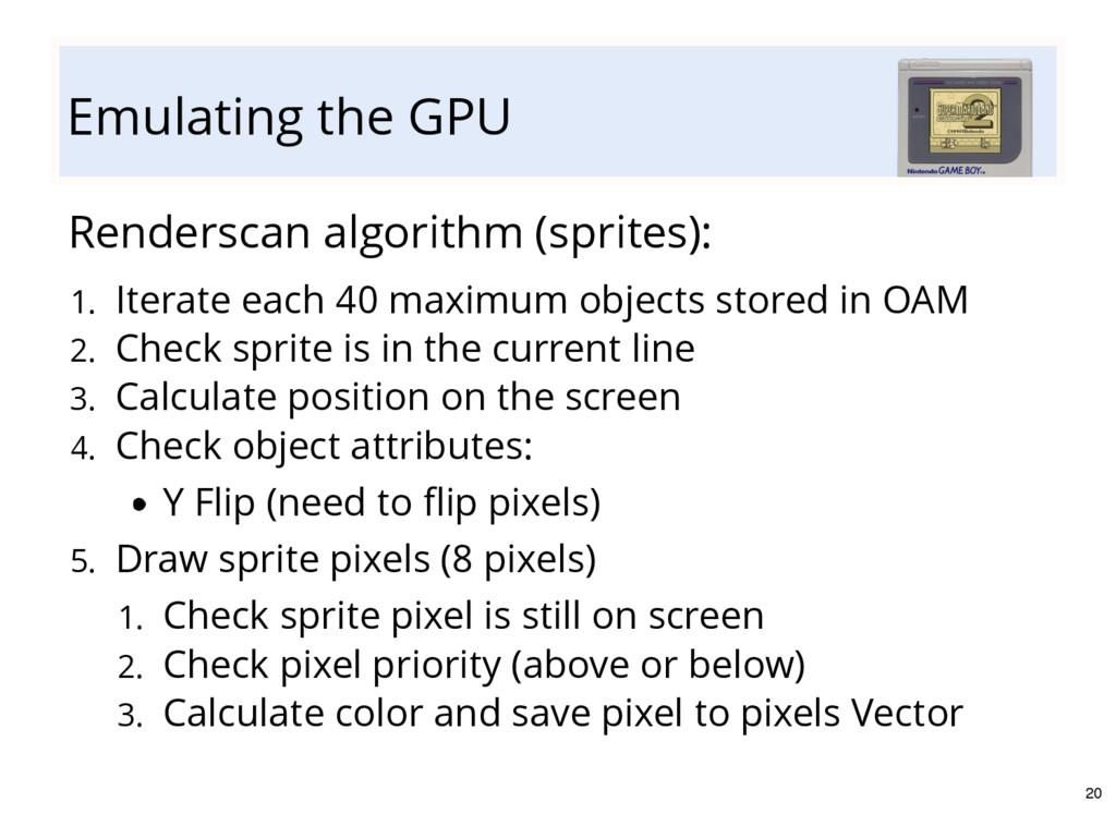 Emulating the GPU Renderscan algorithm (sprites...