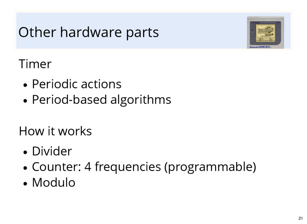Other hardware parts Timer Periodic actions Per...