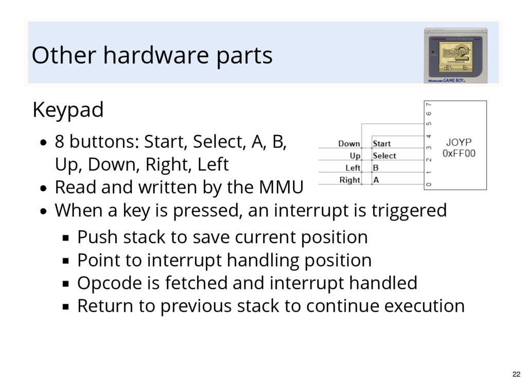 Other hardware parts Keypad 8 buttons: Start, S...