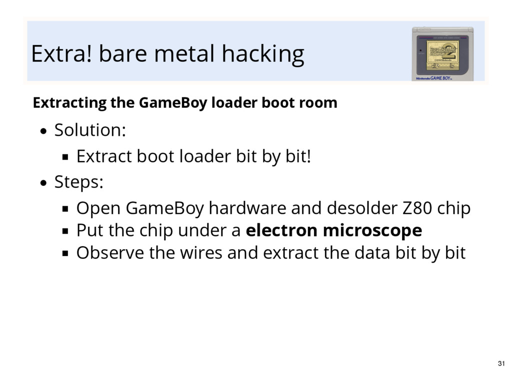 Extra! bare metal hacking Extracting the GameBo...