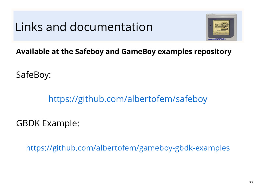 Links and documentation Available at the Safebo...