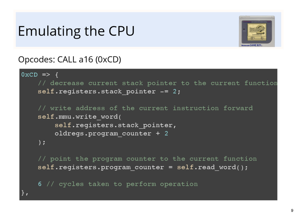 Emulating the CPU Opcodes: CALL a16 (0xCD) 0xCD...