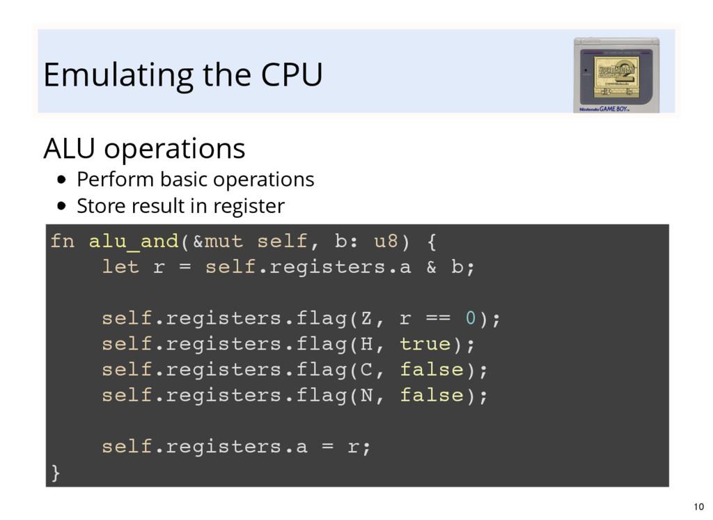 Emulating the CPU ALU operations fn alu_and(&mu...