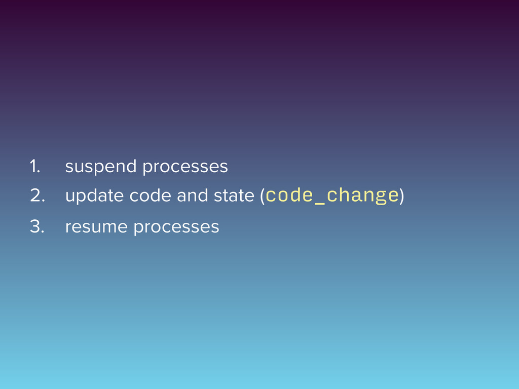 1. suspend processes 2. update code and state (...