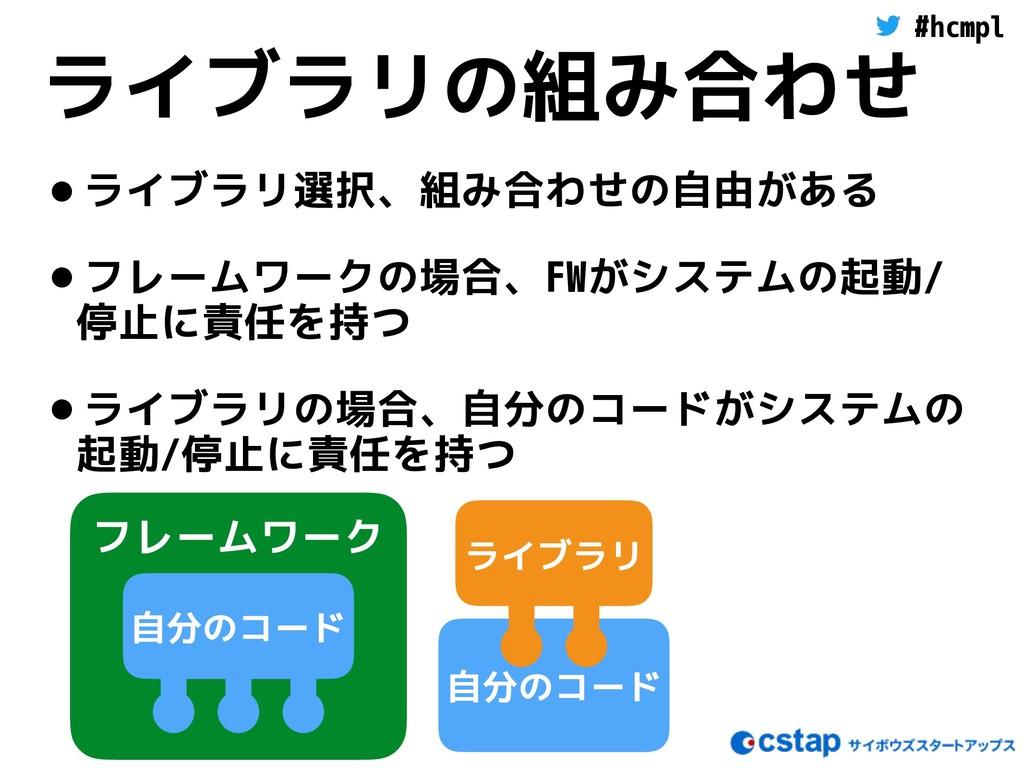 #hcmpl 自分のコード ライブラリの組み合わせ •ライブラリ選択、組み合わせの自由がある ...