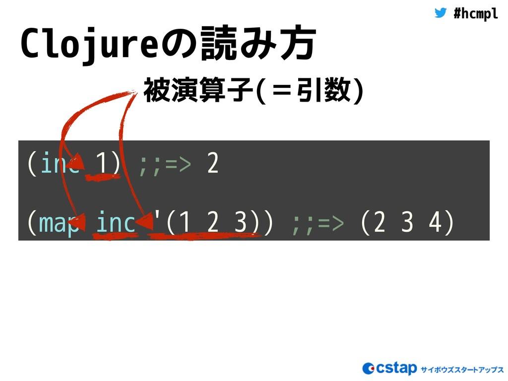 #hcmpl Clojureの読み方 (inc 1) ;;=> 2 (map inc '(1 ...