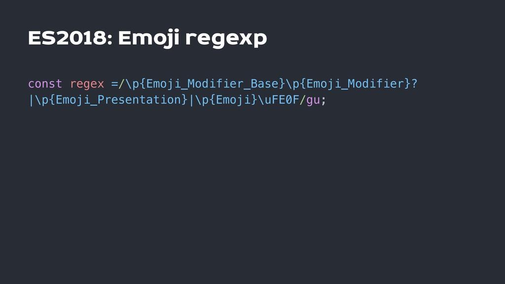 ES2018: Emoji regexp const regex =/\p{Emoji_Mod...