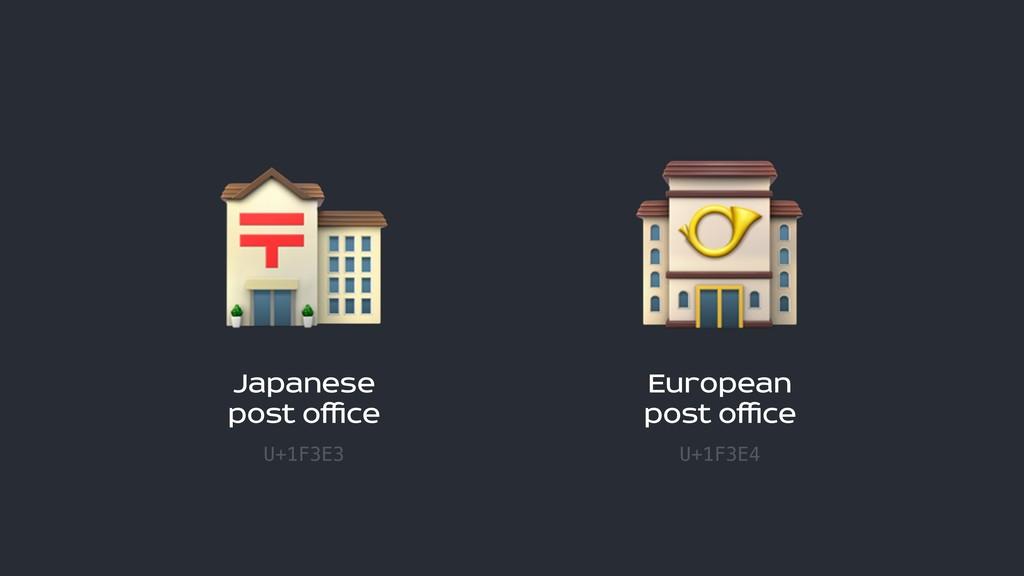 Japanese  post office U+1F3E3  European  post ...