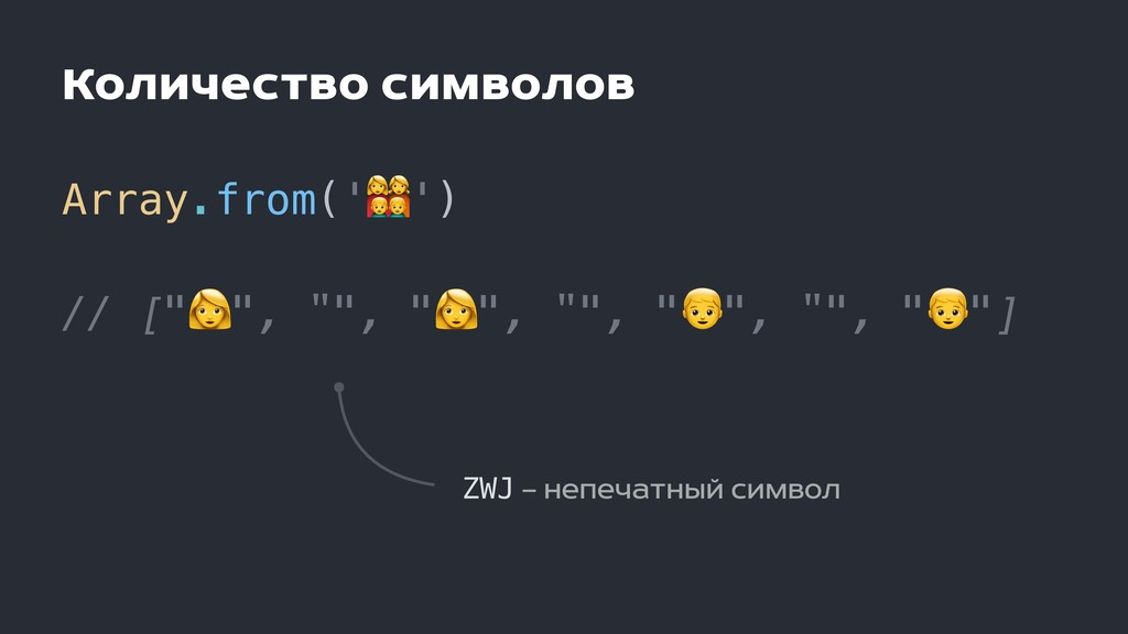 "Количество символов Array.from('.') // ["""", """",..."