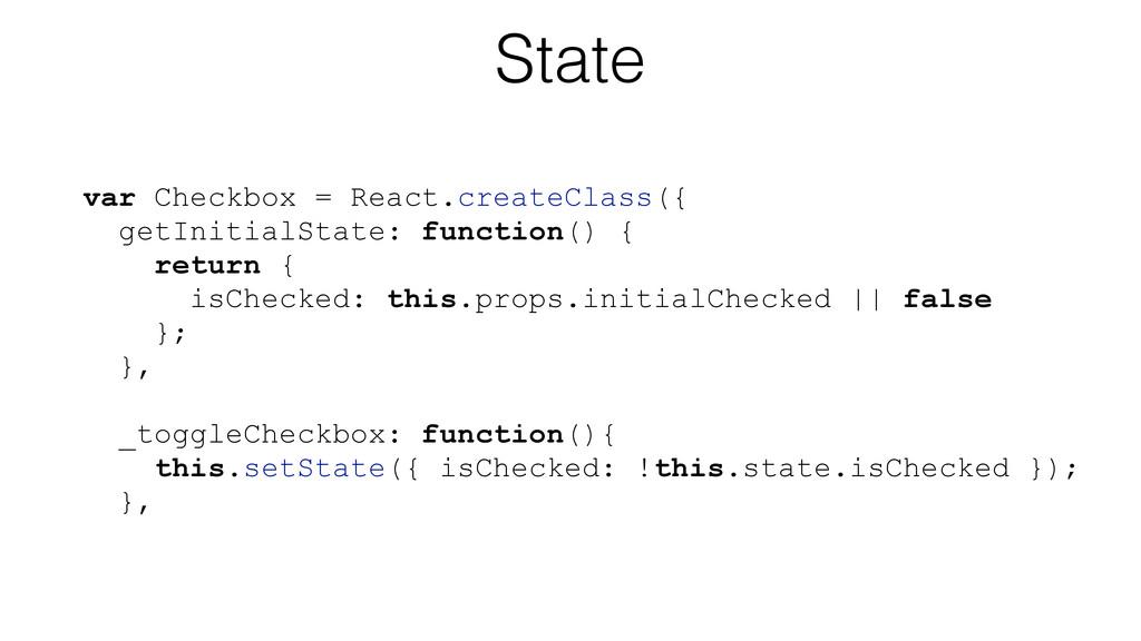 State var Checkbox = React.createClass({ getIni...
