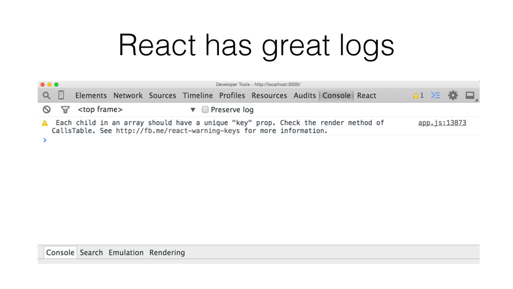 React has great logs