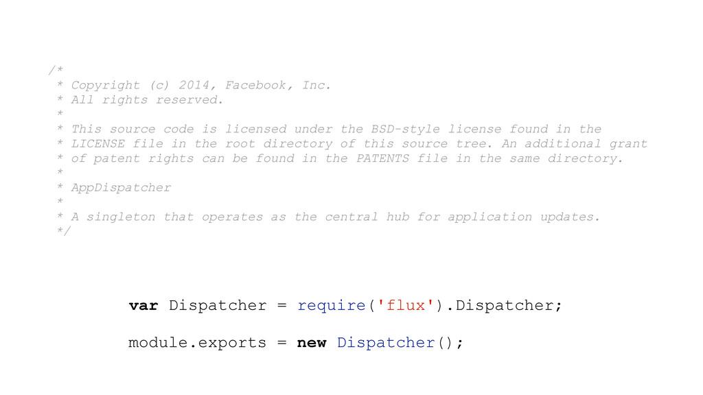 var Dispatcher = require('flux').Dispatcher; mo...