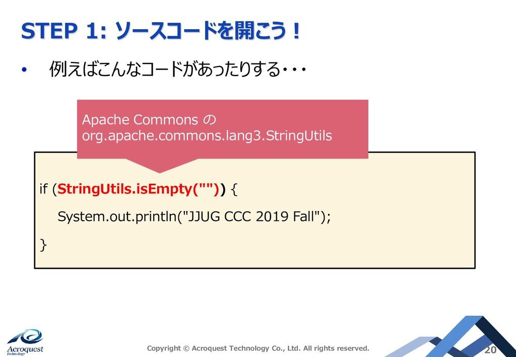 STEP 1: ソースコードを開こう! • 例えばこんなコードがあったりする・・・ Copyr...
