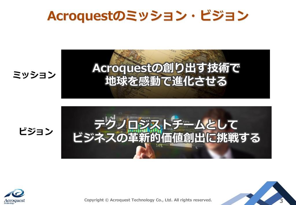 Acroquestのミッション・ビジョン Copyright © Acroquest Tech...