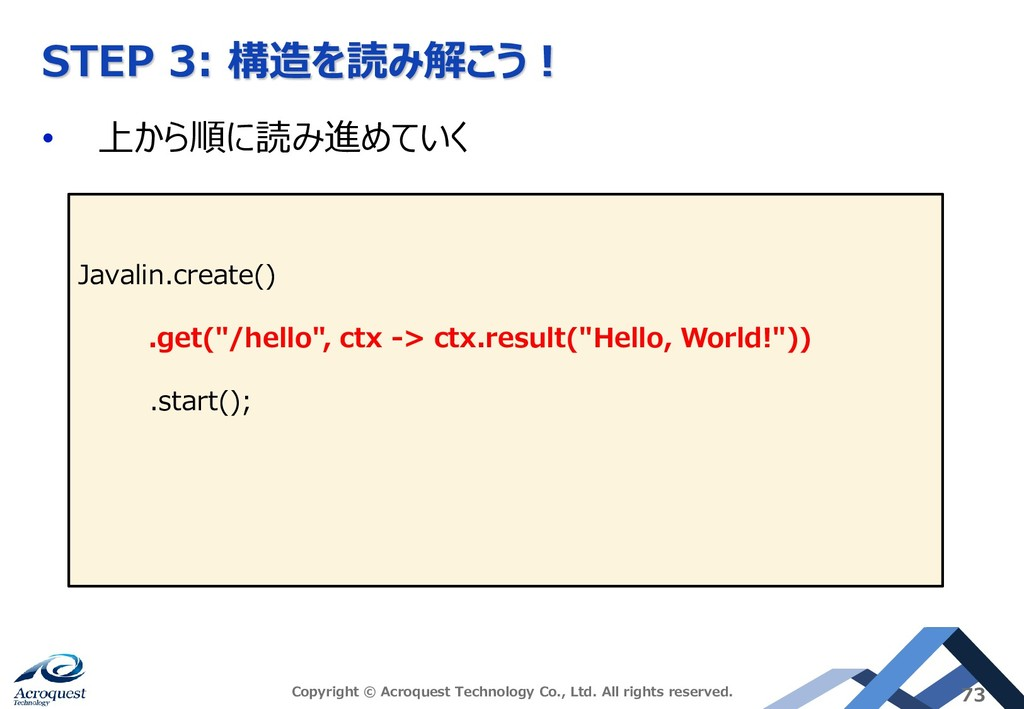 STEP 3: 構造を読み解こう! • 上から順に読み進めていく Copyright © Ac...