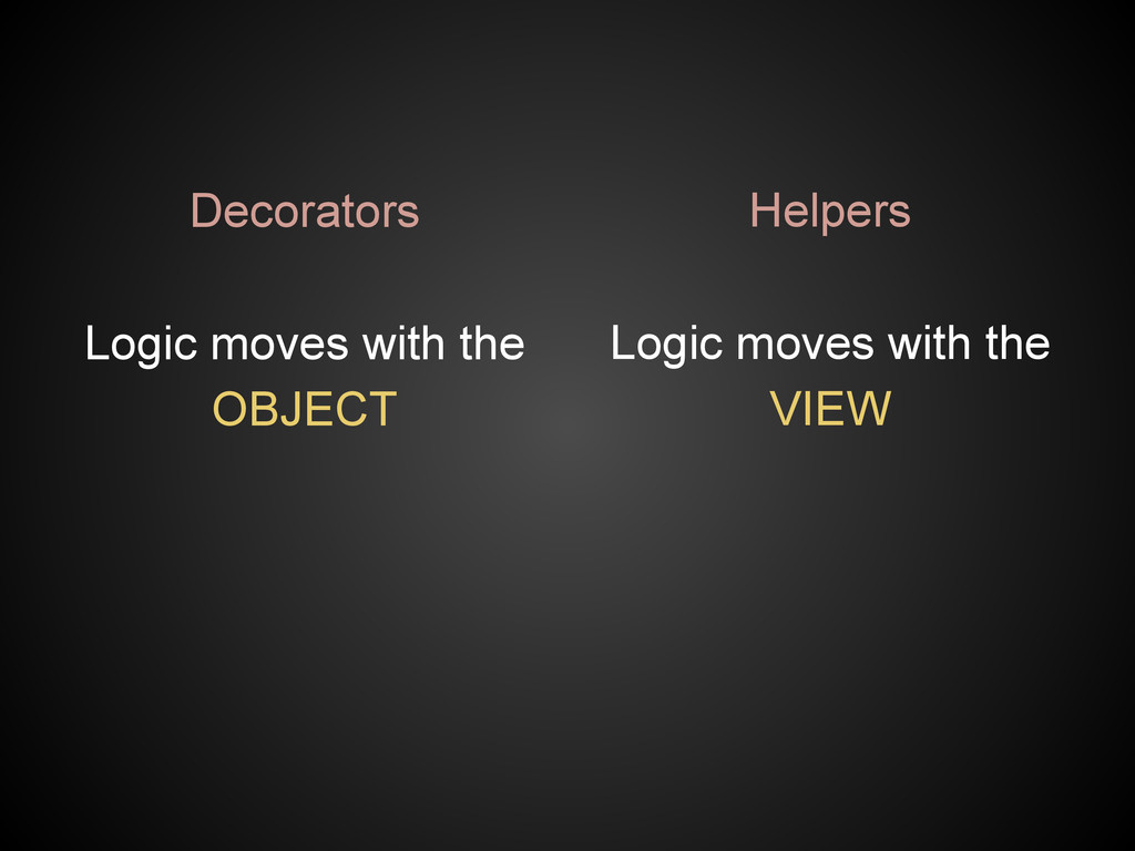Decorators Logic moves with the OBJECT Helpers ...