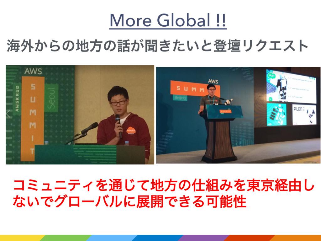More Global !! ίϛϡχςΟΛ௨ͯ͡ํͷΈΛ౦ژܦ༝͠ ͳ͍Ͱάϩʔόϧʹ...