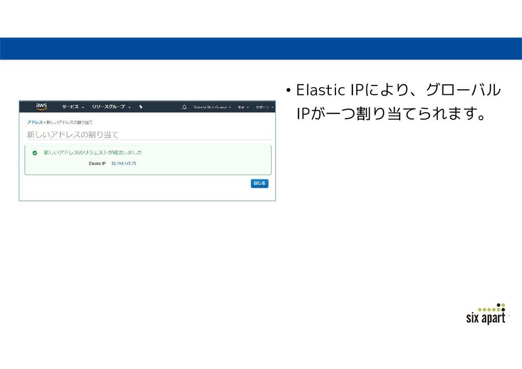 • Elastic IPにより、グローバル IPが一つ割り当てられます。