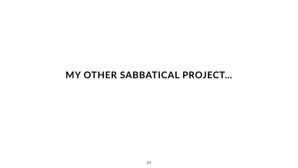 MY OTHER SABBATICAL PROJECT… 21