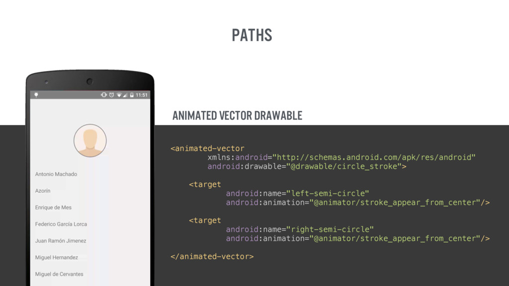 Paths Animated Vector drawable <animated-vector...