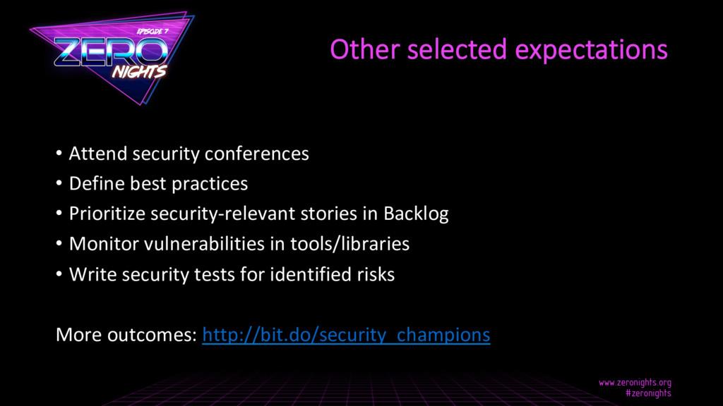 • Attend security conferences • Define best p...