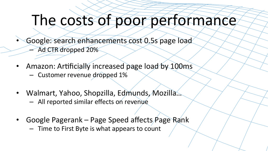 The costs of poor performance  •...