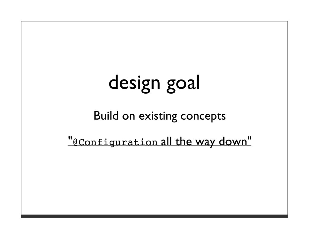 """design goal Build on existing concepts """"@Config..."""