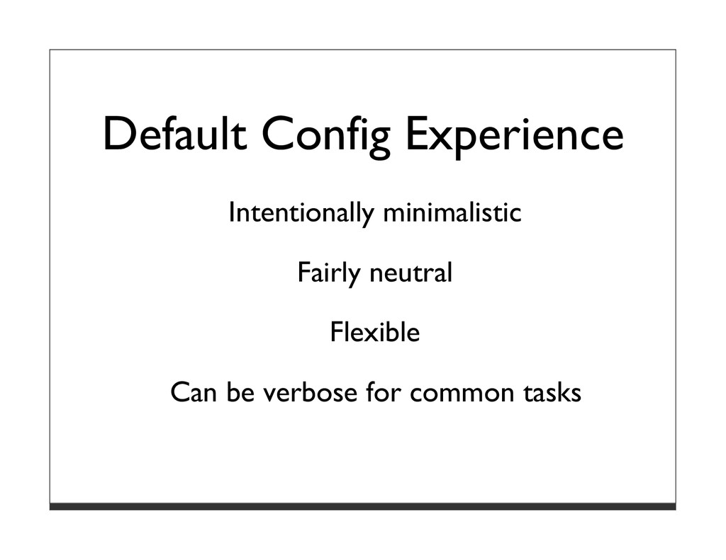 Default Config Experience Intentionally minimal...