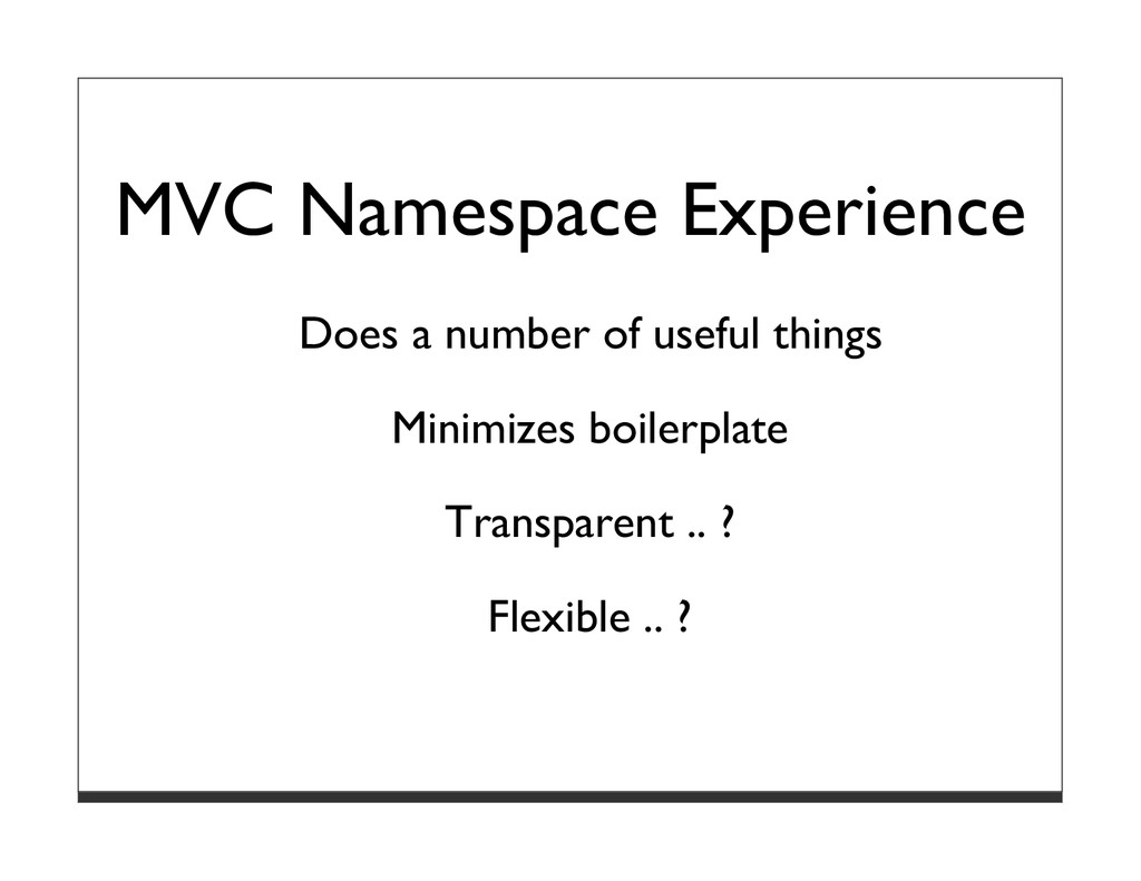 MVC Namespace Experience Does a number of usefu...
