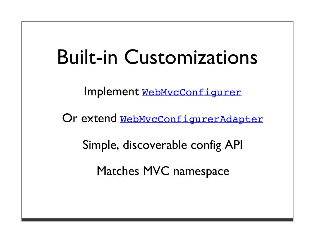 Built-in Customizations Implement WebMvcConfigu...